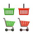 shopping basket and shopping cart set vector image vector image