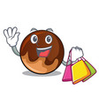 shopping chocolate donut character cartoon vector image