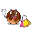shopping chocolate donut character cartoon vector image