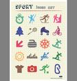 Sport web icons set drawn by color pencils vector image vector image