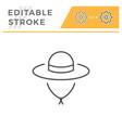 travel hat editable stroke line icon vector image vector image