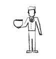 vet man with empty bowl fish sketch vector image vector image
