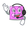 with headphone toy brick mascot cartoon vector image