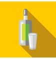 Bottle of vodka and wineglass icon flat style vector image