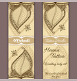 set of banners or cards in indian ornament vector image