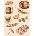 set of vintage beer icons vector image
