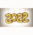 3d gold 2022 numbers new year greeting card vector image vector image