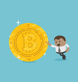 african businessman with coins bitcoin vector image vector image