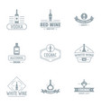 alco party logo set simple style vector image vector image