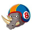 angry rhino wearing helmet racer