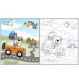 bear driving car at holiday time cartoon vector image vector image