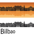 Bilbao skyline in orange background vector image vector image