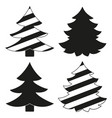 black and white christmas tree silhouette set vector image