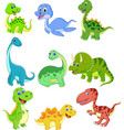 cartoon dinosaurs collection set vector image vector image