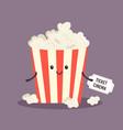 cheerful bucket popcorn happy character vector image