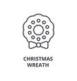 christmas wreath line icon outline sign linear vector image vector image
