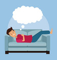 colorful scene guy sleep with in sofa with cloud vector image vector image