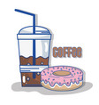 delicious coffee plastic cup and donut vector image