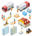 delivery isometric logistic distribution vector image vector image