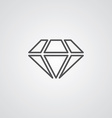 diamond outline symbol dark on white background vector image vector image