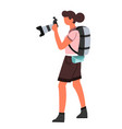 digital photo camera woman photographer with vector image vector image