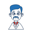 doctor man people character with blue hair image vector image vector image