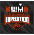 Expedition - emblem with 4x4 vehicle off-road vector image vector image
