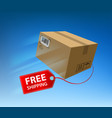 free shipping freight cardboard box with cargo vector image vector image