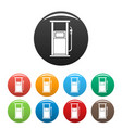 fuel refill stand icons set color vector image