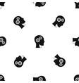 gears in human head pattern seamless black vector image vector image