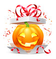 halloween pumpkin in gift box vector image