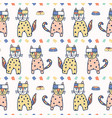 hand drawn geometric cats seamless vector image