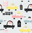 hand drawn seamless pattern with cars vector image vector image