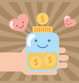 hand holding jar kawaii coins money donate charity vector image
