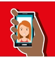 hand holding smartphone person woman vector image vector image