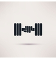 Hand holding weight with dumbbells icon vector image