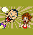 joyful man and scared woman vector image vector image