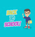 little caucasian schoolboy pointing forefinger up vector image vector image