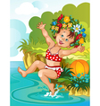 Little girl bathe in sunshine Vacation theme vector image