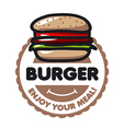 logo burger for menu restaurant or cafe vector image