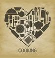 logo kitchen icon heart vector image vector image