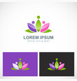 lotus flower beauty colorful logo vector image