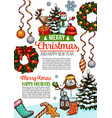 merry christmas sketch wish greeting card vector image vector image