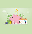 monthly budget planning concept with saving piggy vector image vector image