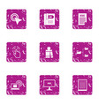 news click icons set grunge style vector image vector image
