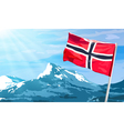 Norway flag on mountains background