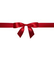 realistic red bow with horizontal red ribbons vector image vector image