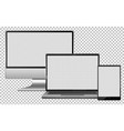 set blank screen electronics gadget computer vector image