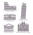 set isolated italy monuments in thin line vector image