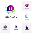 set of house cleaning logo concept design vector image